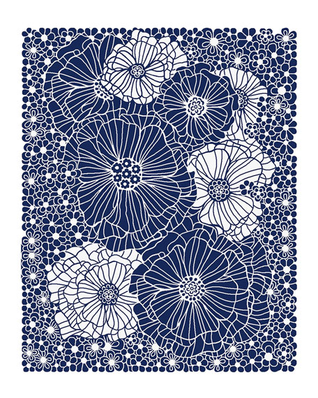 Blueberries and Cream Floral Rug, 8' x 10'