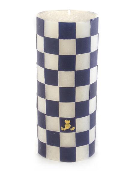 """Navy Check 6"""" Pillar Candle"""