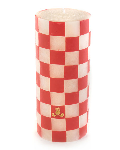 """Red Check 6"""" Pillar Candle"""