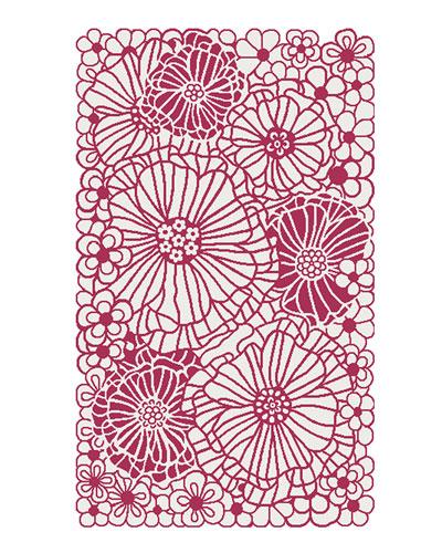 Raspberries and Cream Floral Rug  3' x 5'