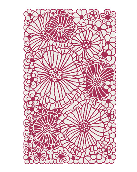 Raspberries and Cream Floral Rug, 3' x 5'
