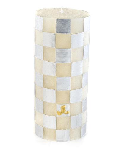 Silver Check 6 Pillar Candle