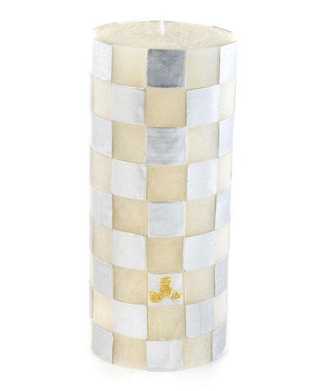 """Silver Check 6"""" Pillar Candle"""