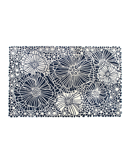 Blueberries and Cream Floral Rug, 5' x 8'