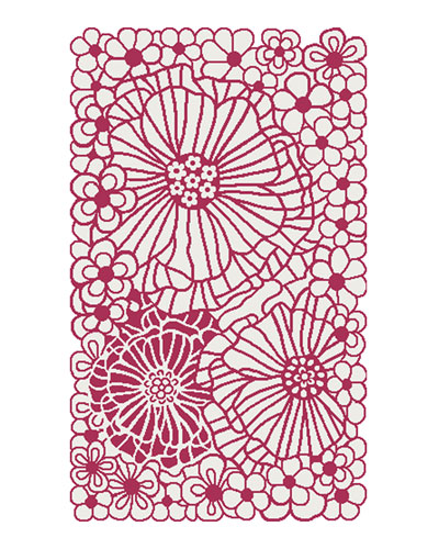 Raspberries and Cream Floral Rug  2.3' x 3.8'