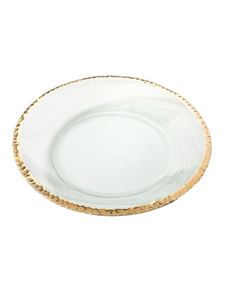 Annieglass Edgey Gold Round Shallow Bowl
