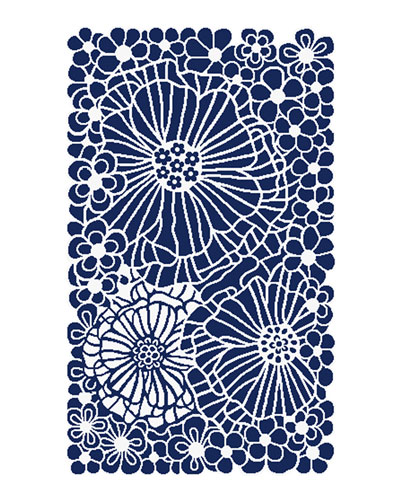Blueberries and Cream Floral Rug  2.25' x 3.75'