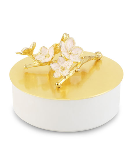 Cherry Blossom Porcelain Small Covered Dish