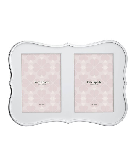 crown point double invitation picture frame, silver