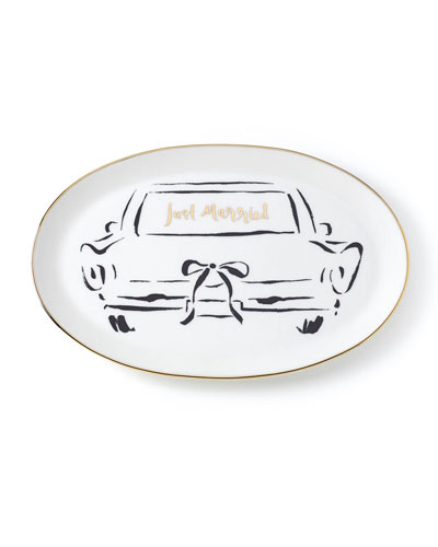 bridal party just married oblong dish