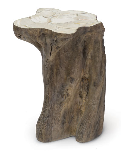 Chloe Fossilized Clam Stump Side Table