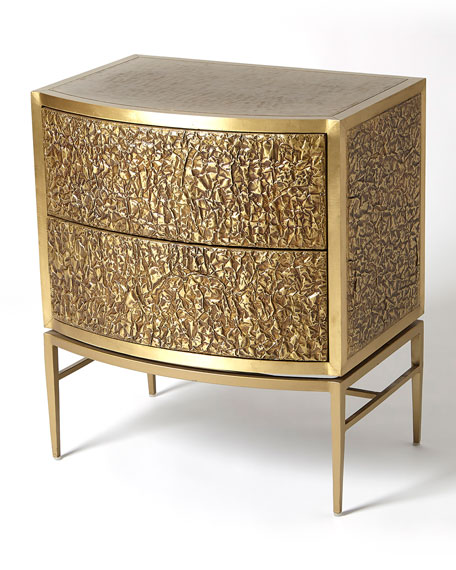 Crinkle Bronze Bedside Chest