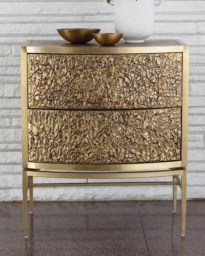 Crinkle Bronze Bedside Chest