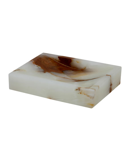 Myrtus Collection Square Light Green Onyx Soap Dish