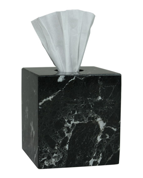Marble Crafter Myrtus Collection Black Zebra Tissue Box