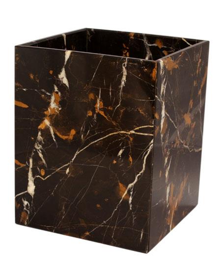 Myrtus Collection Black & Gold Wastebasket w/ Liner