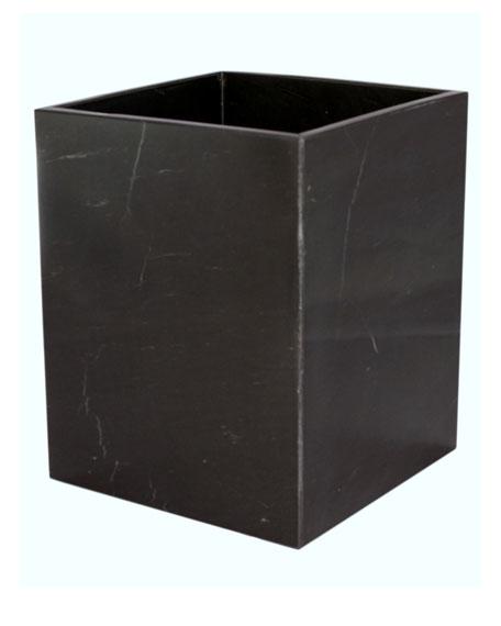 Myrtus Collection Jet Black Marble Wastebasket w/ Liner
