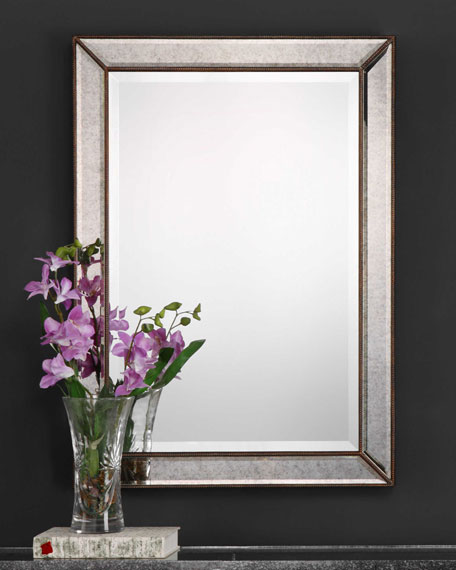 Textured Surface Mirror with Metallic Silver Finish
