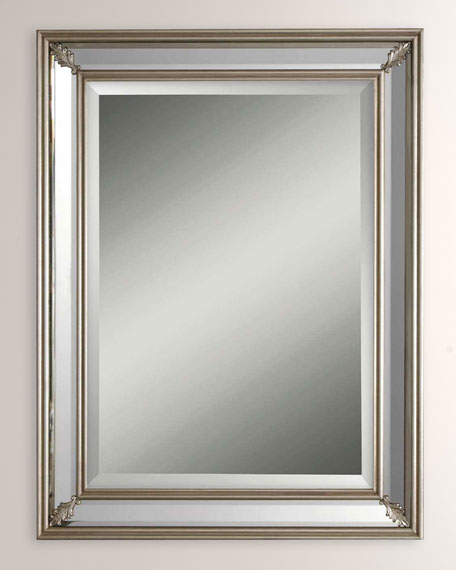 Antiqued Silver Leaf Edged Mirror
