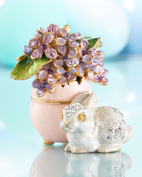 Jay Strongwater Floret Lilac Egg Bunny Box
