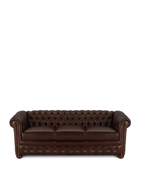 "Chesterfield Leather Sleeper Sofa, 84"""