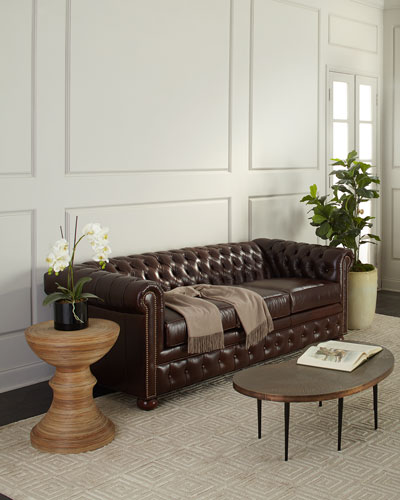 Chesterfield Leather Sleeper Sofa  84