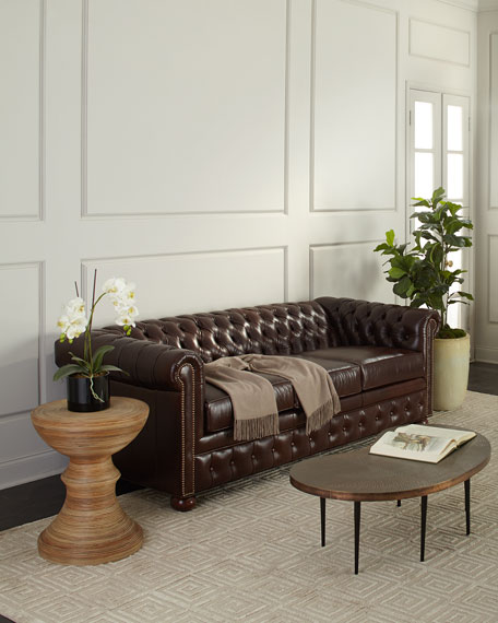 Old Hickory Tannery Chesterfield Leather Sleeper Sofa, 84
