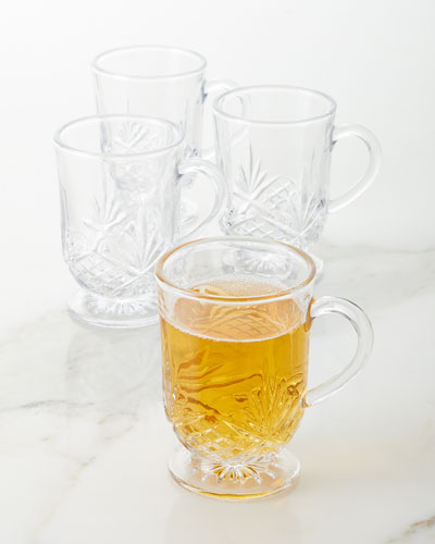 Footed Glass Mugs  Set of 4