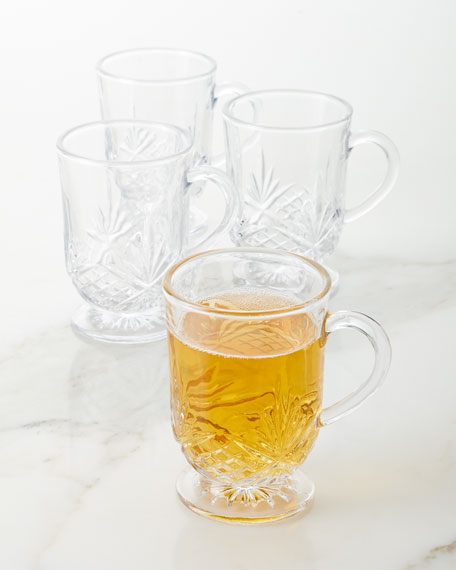 Godinger Footed Glass Mugs, Set of 4