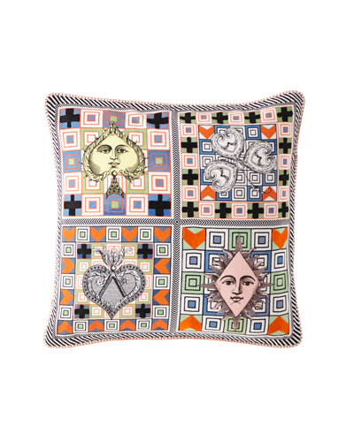 Poker Face Multicolor Pillow