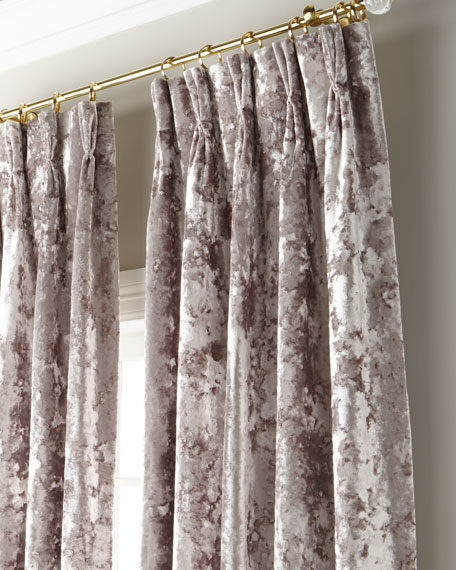 """Crushed Velvet 3-Fold Pinch Pleat Curtain with Blackout Lining, 108"""""""