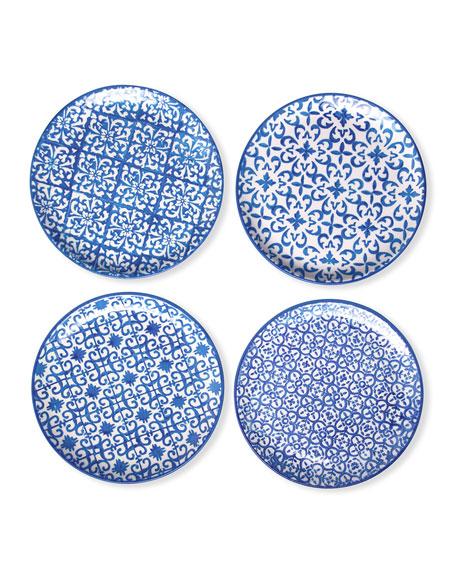 Ojai Blue Mixed Pattern Salad/Dessert Plates, Set of 4