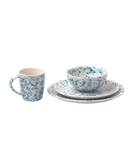 Sconset Mixed Blue Spongeware 16-Piece Dinnerware Set