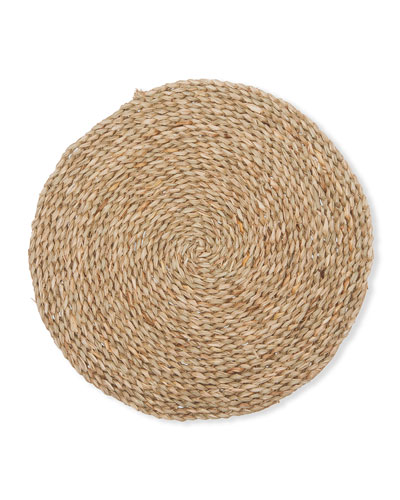Lucian Round Aged Seagrass Chargers  Set of 4