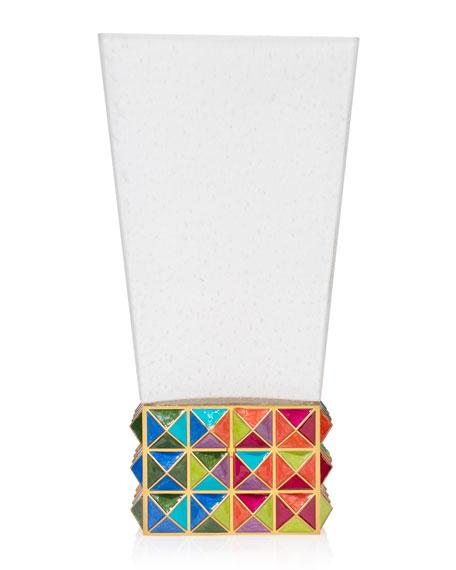Jay Strongwater Rainbow Pyramid Vase