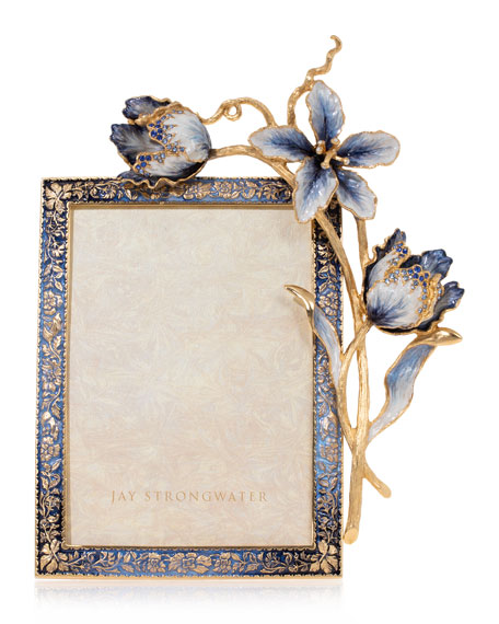Jay Strongwater Indigo Tulip Picture Frame, 5