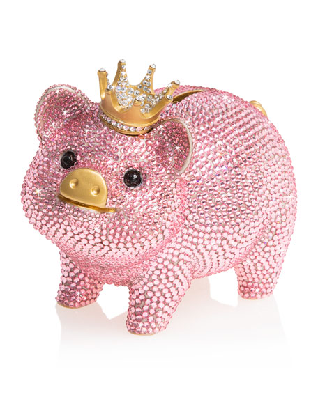 Jay Strongwater Pave Piggy Bank with Crown