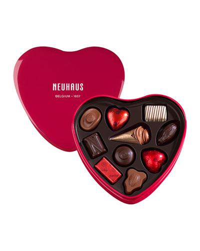 10-Piece Red Tin Heart Chocolate Box
