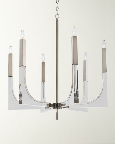 Acrylic & Nickel 6-Light Chandelier