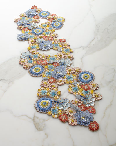 Floral Bouquet Beaded Table Runner
