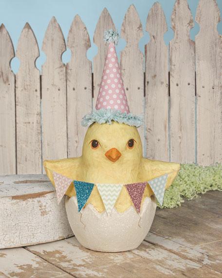 Medium Paper Mache Spring Party Chick In Egg Decor