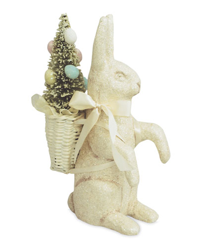 Sparkle Bunny with Tree Basket