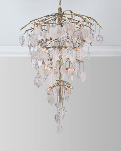 Glass Leaf 26-Light Chandelier