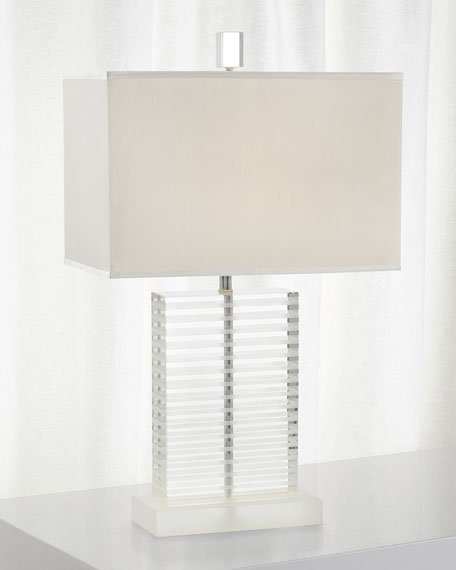 Glass Table Lamp with Frosted Etched Accents