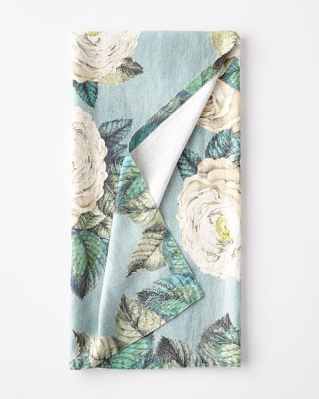 John Derian The Rose Swedish Blue Throw