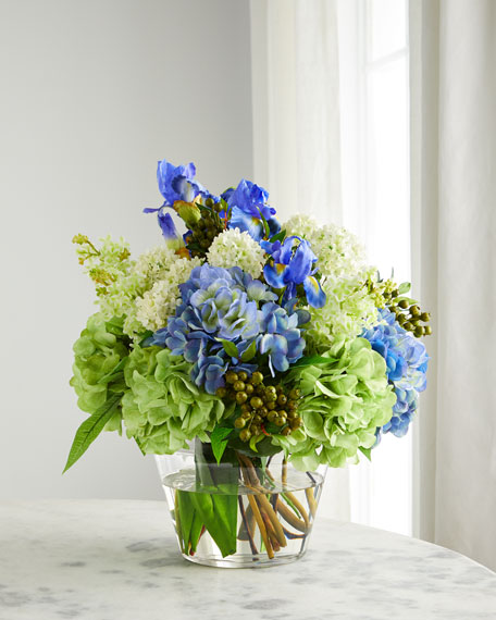 Iris & Hydrangea Floral Arrangement