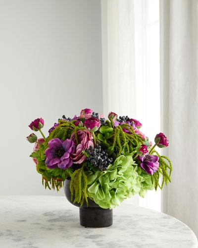 Rose Hydrangea in Ceramic Bowl