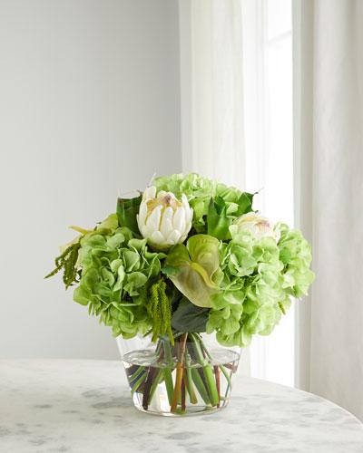 Hydrangea & Protea Faux Floral Arrangement