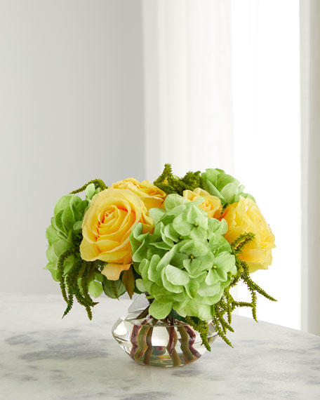 Rose Hydrangea Arrangement in Glass Vase