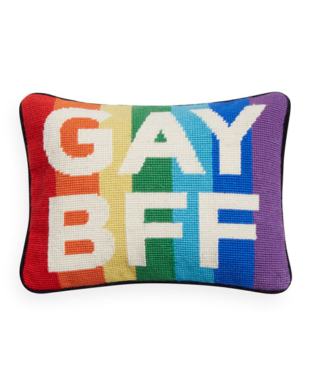 Needlepoint Personality Gay BFF Pillow